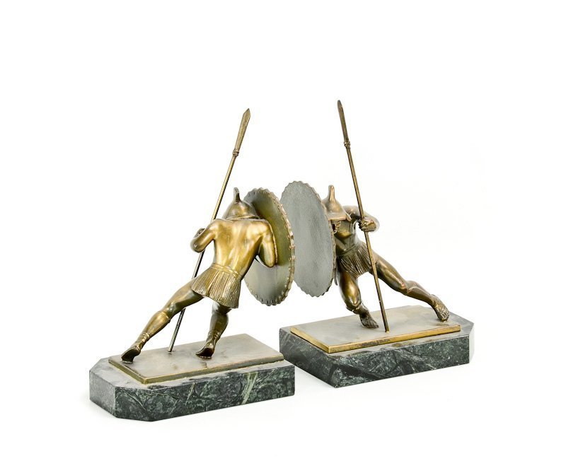 Pair of Asian Warrior Art Deco Bookends