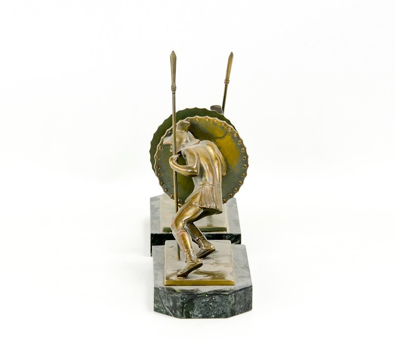 Pair of Asian Warrior Art Deco Bookends - 3