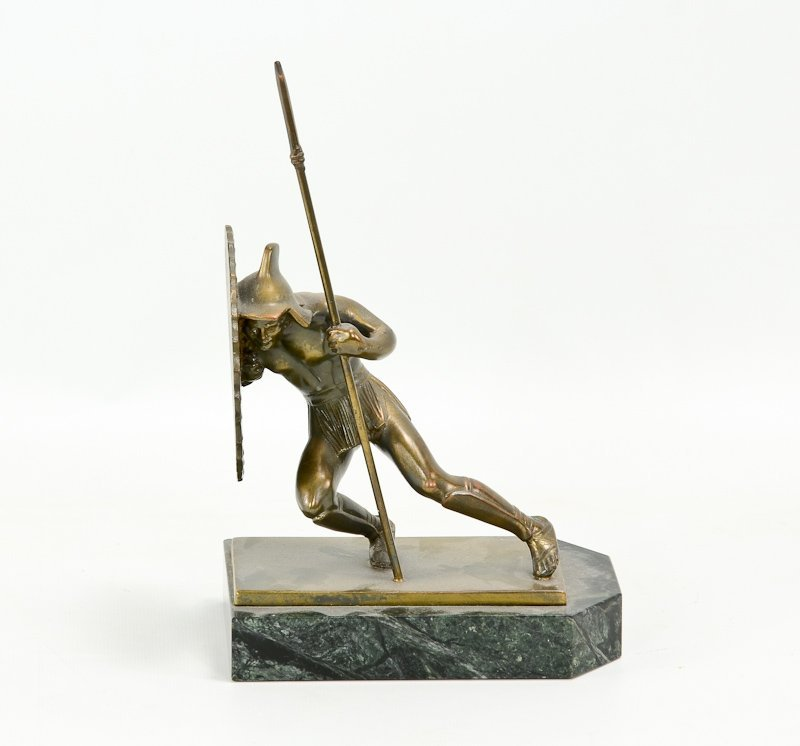 Pair of Asian Warrior Art Deco Bookends - 4
