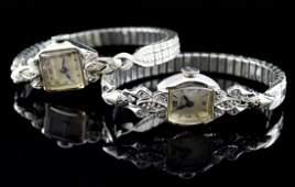 Two ladies 14K Diamond Watches