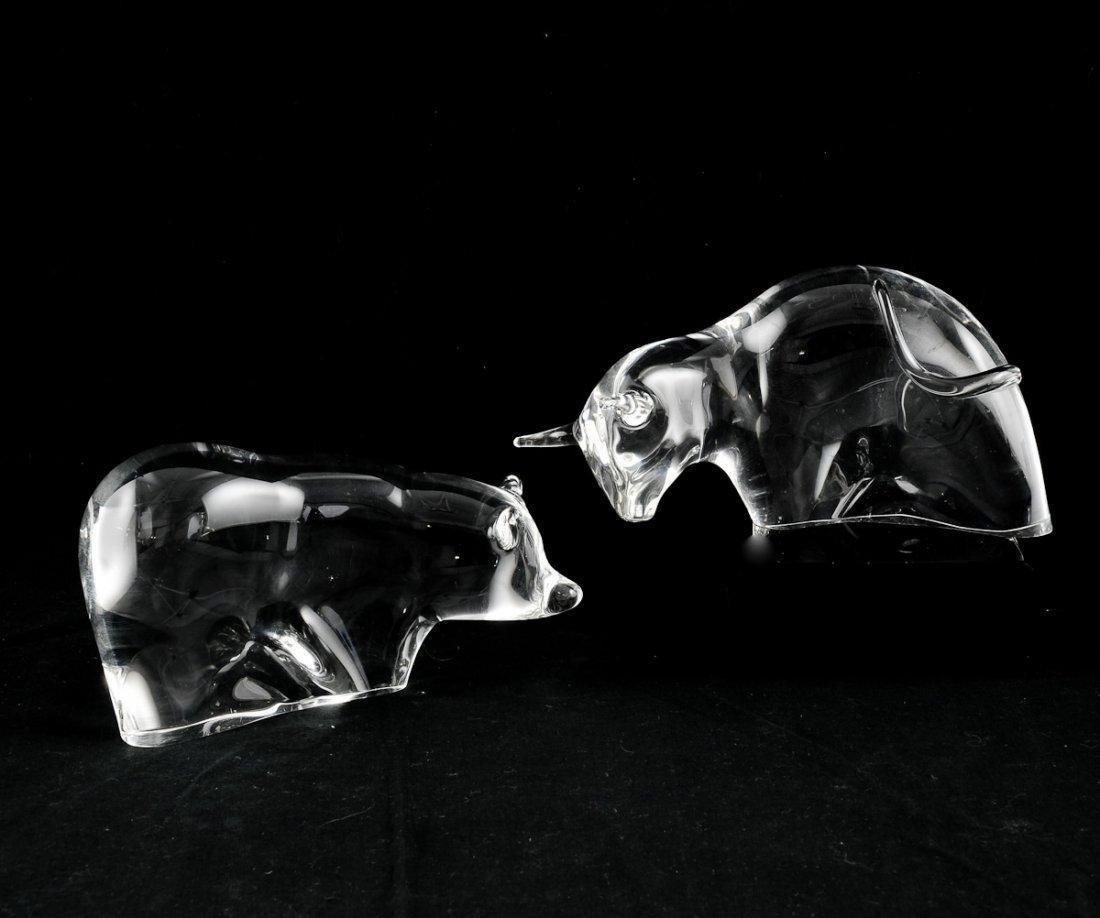 Steuben Bull and Bear Crystal Figurines
