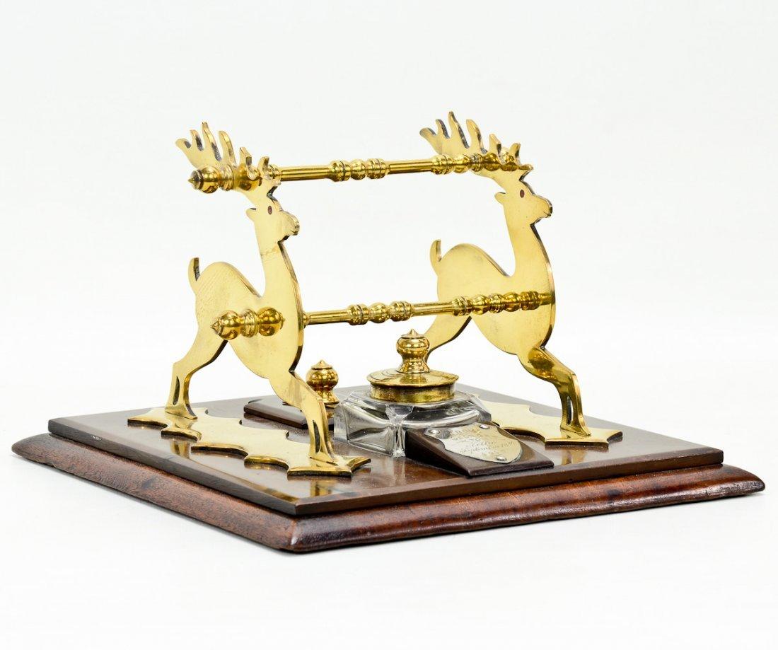 English Brass & Burlwood Inkstand