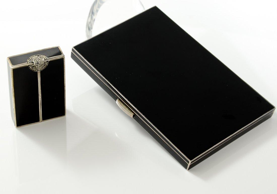 Silver & Enamel Cigarette Case and Compact