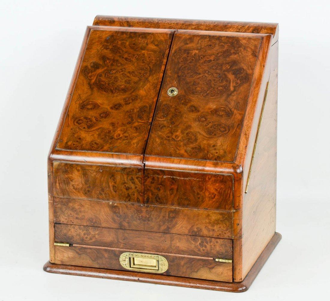 English Burlwood and brass writing desk