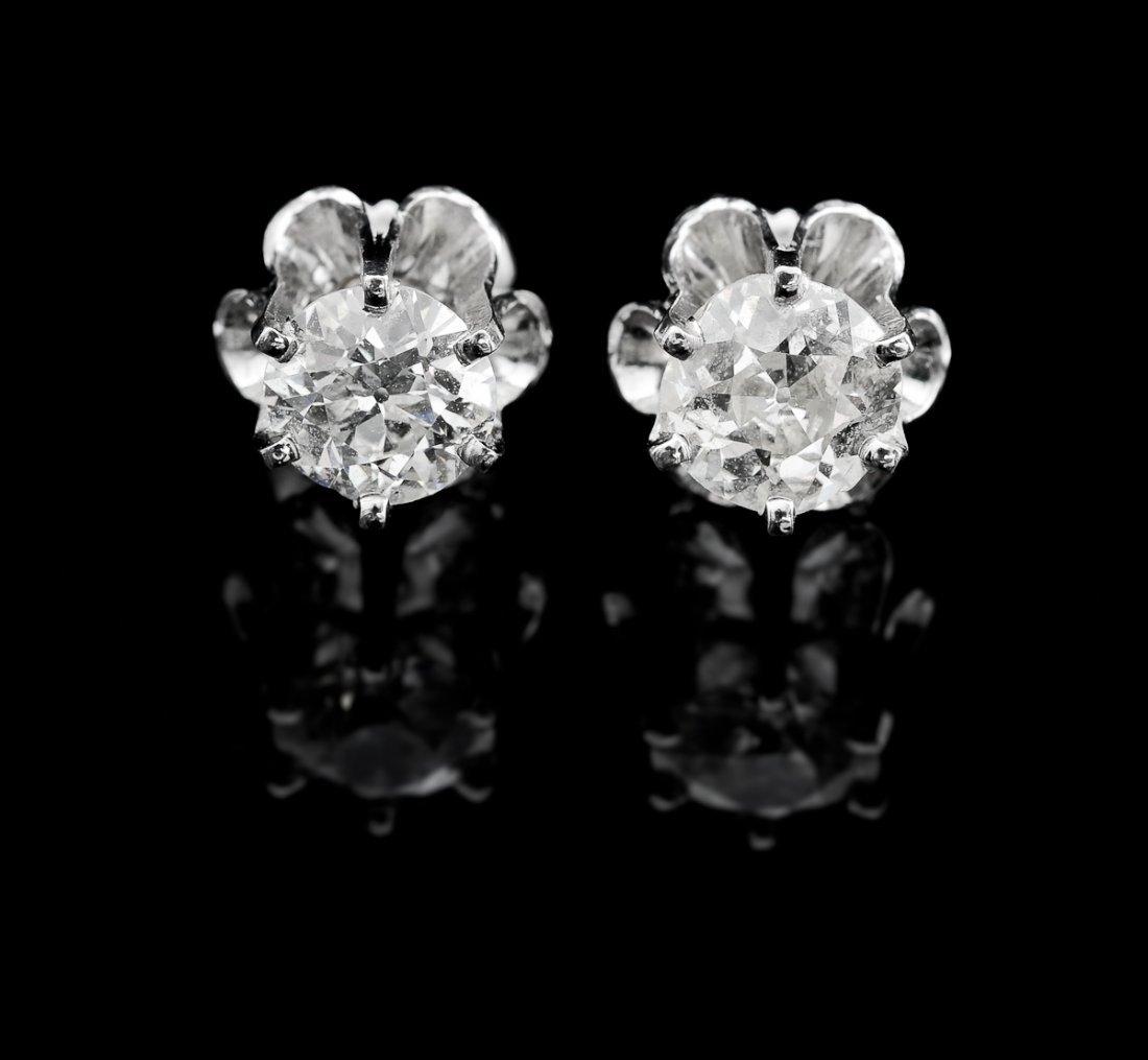 Pair of Ladies 14K Diamond Earrings