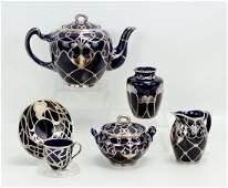 Lenox Silver Overlay Porcelain Tea Service
