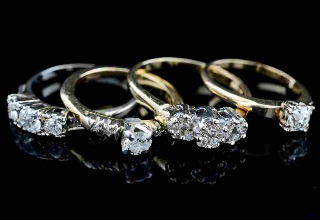 Group of Four Ladies Estate Diamond Rings