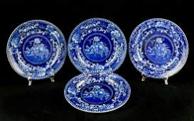Four Staffordshire Plates