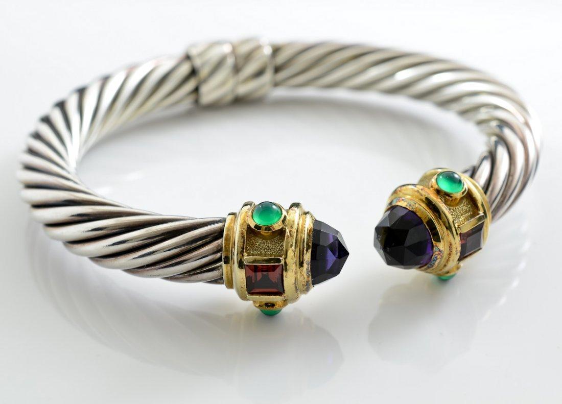 David Yurman 14K & Silver Cable Bracelet