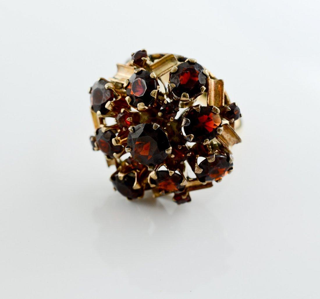 Ladies 14K Victorian Garnet Ring