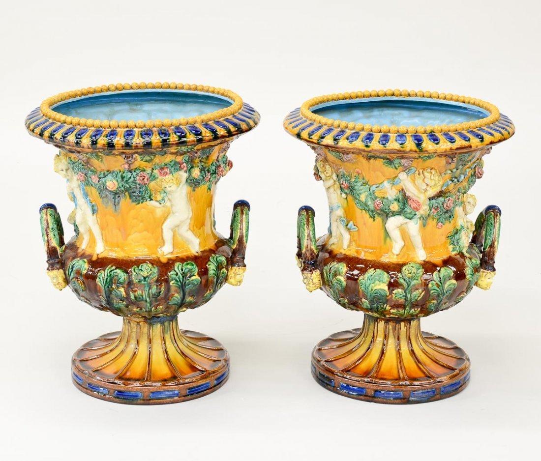 Pair of Italian Ceramic Urns