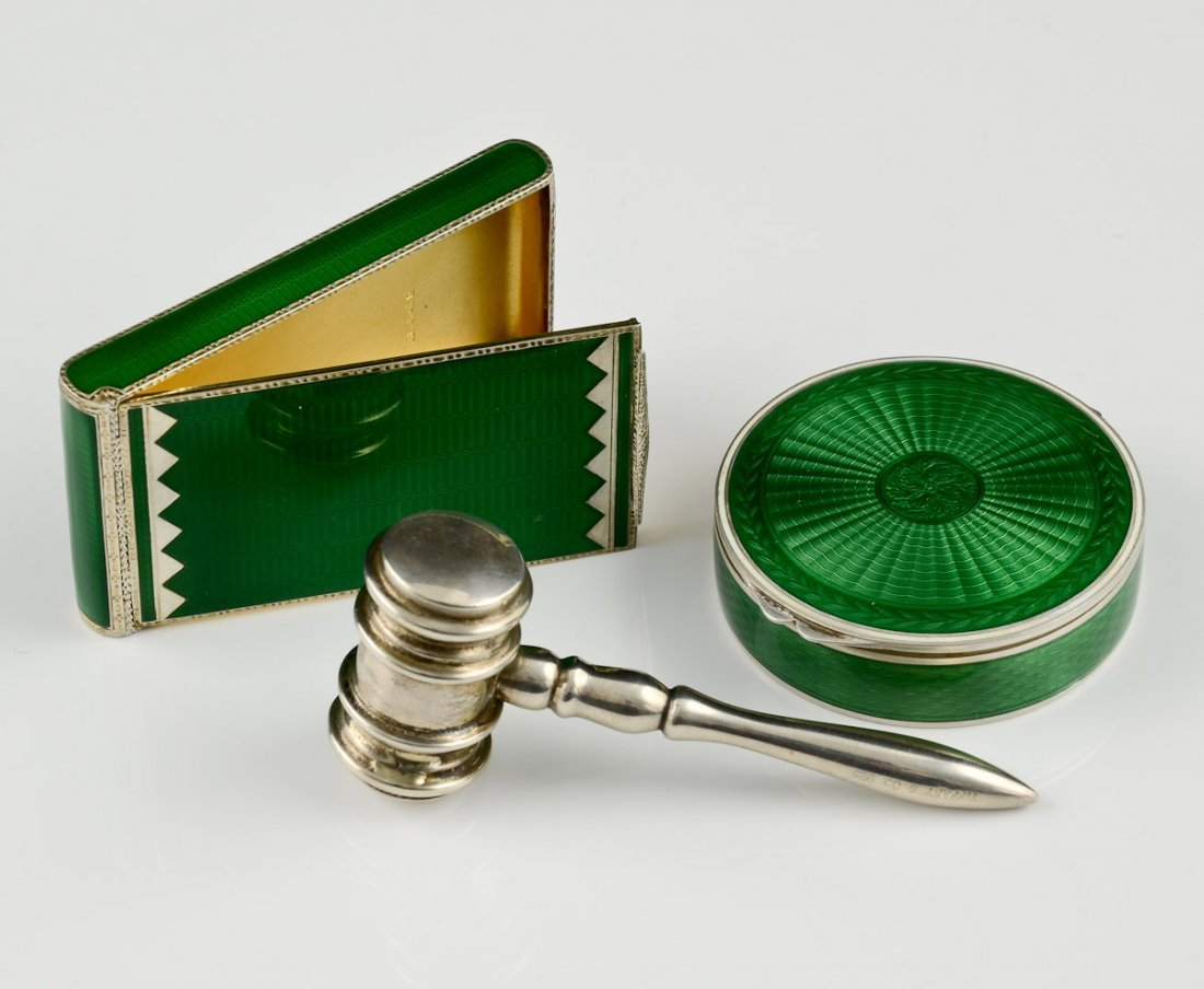 Tiffany Silver Hammer and 2 Silver & Enamel Cases
