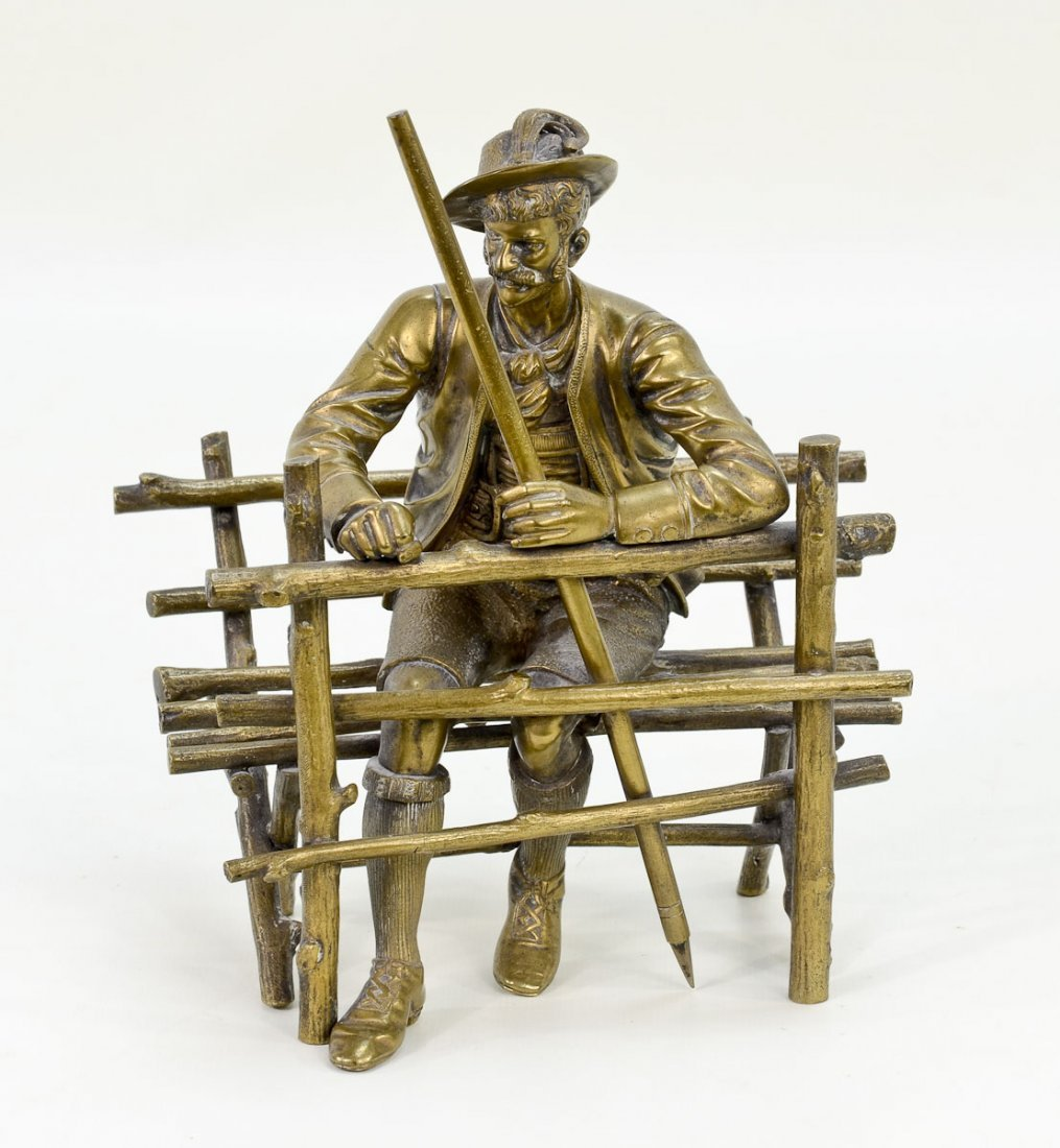 Brass Sculpture of Man on Bench
