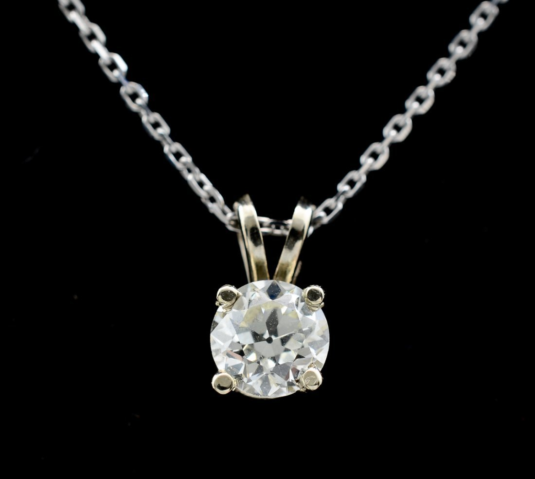 Ladies 14K Diamond Solitaire Necklace