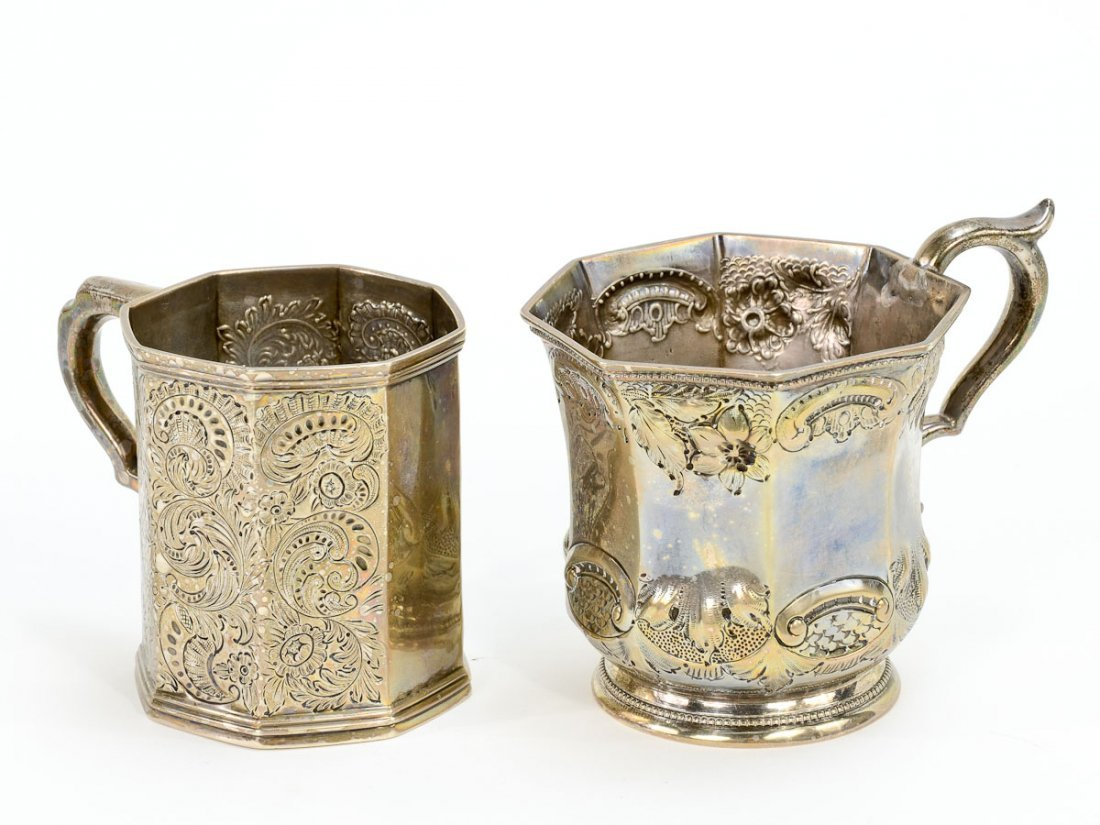 Two Coin Silver Repousee Cups