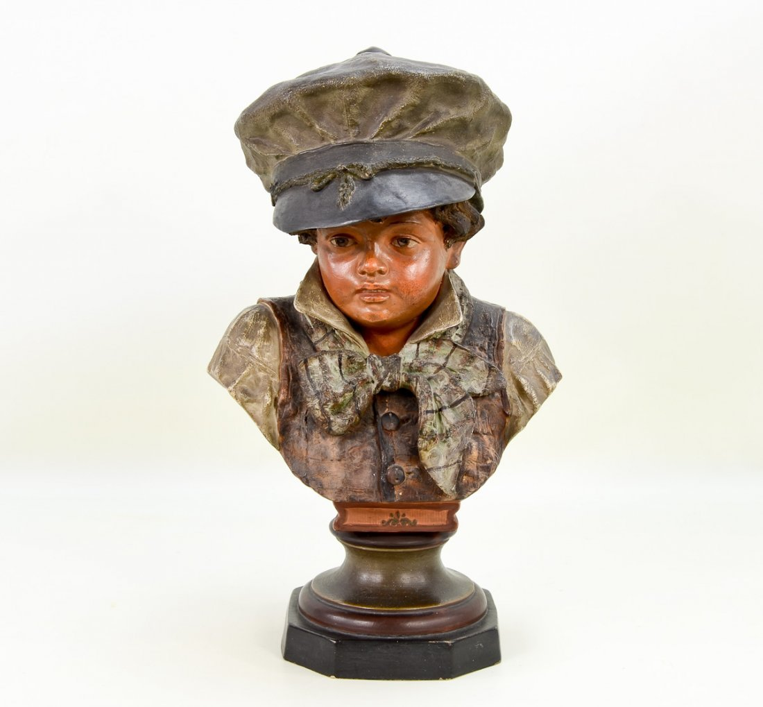 Terracotta Bust of Young Victorian Boy