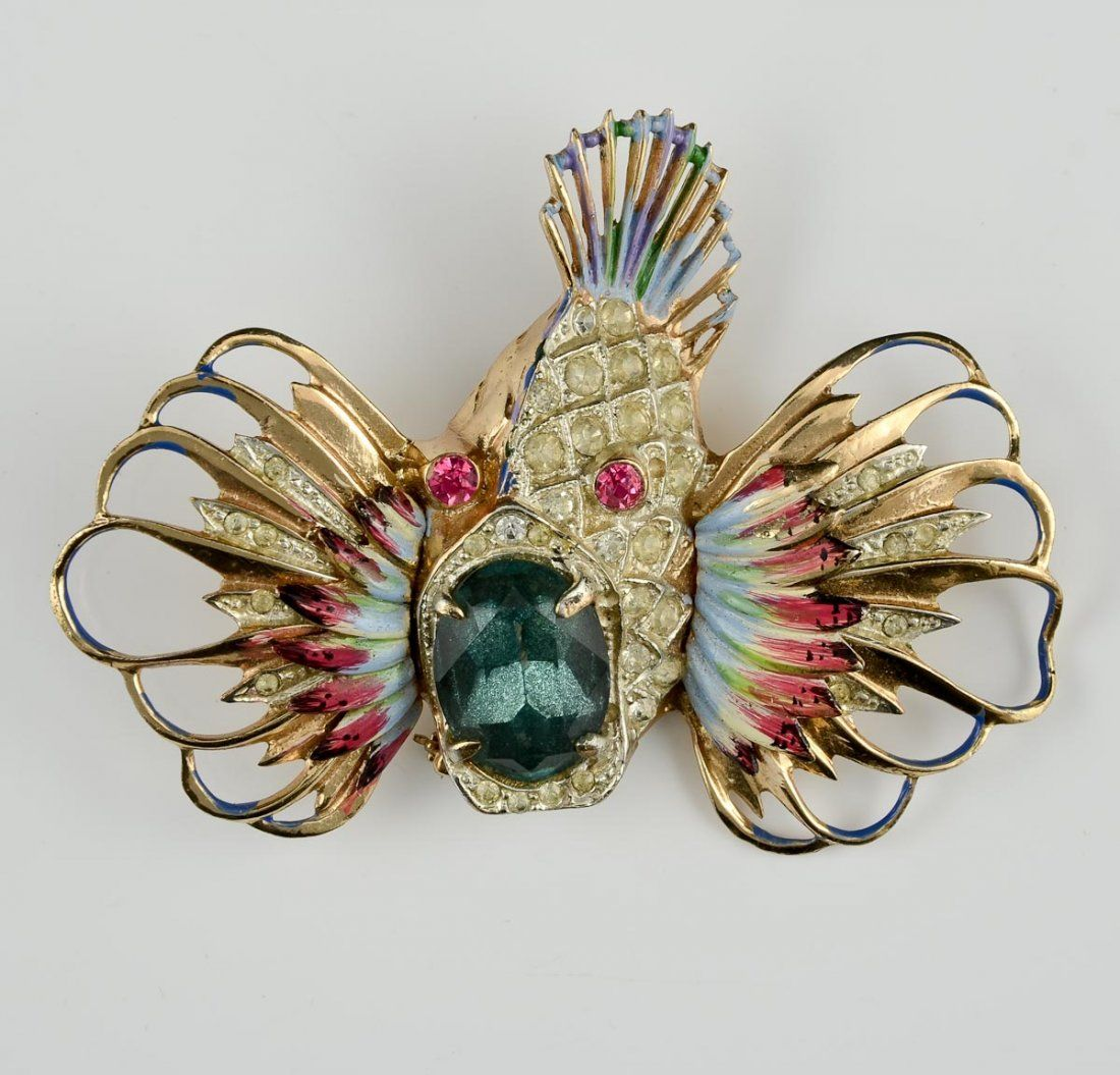 Coro Craft Sterling Rock Fish Pin