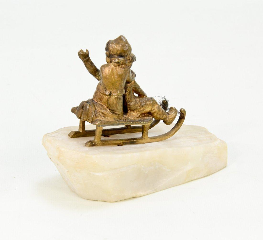 Bronze Figurine of Boys on Sled - 2