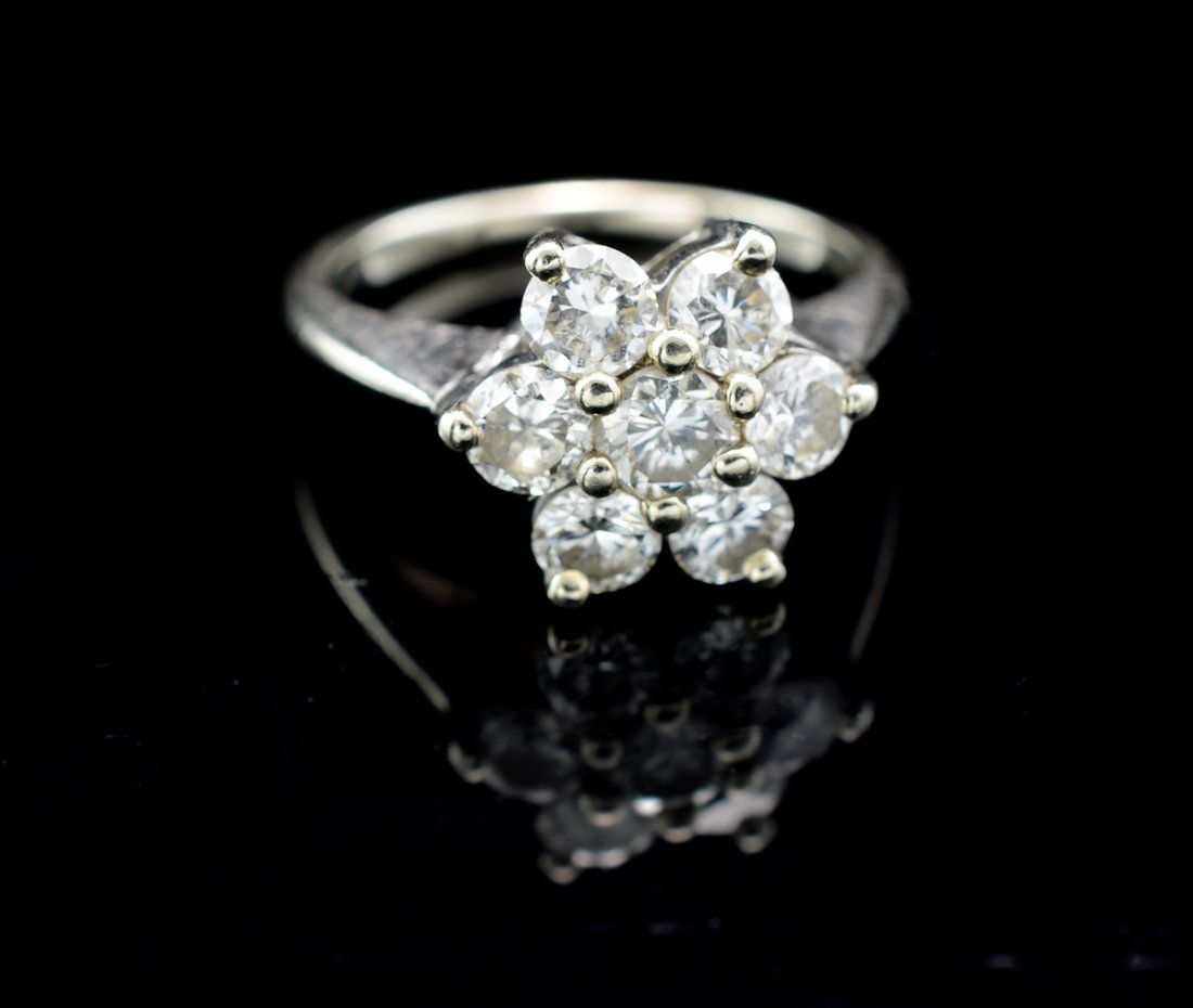 Ladies 14K Diamond Snowflake ring