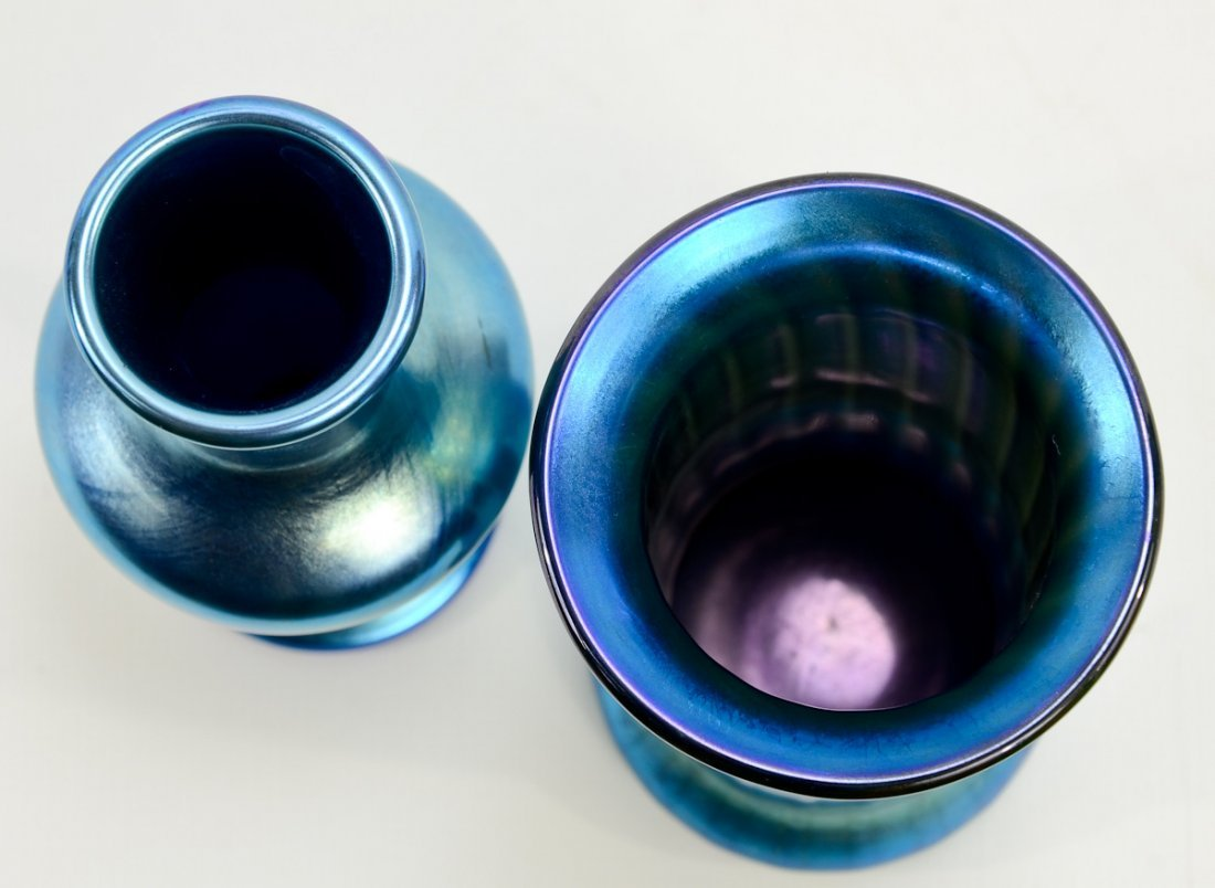 4 Lundberg Glass Iridescent Vases - 4