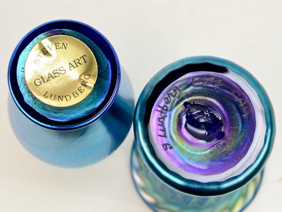 4 Lundberg Glass Iridescent Vases - 5