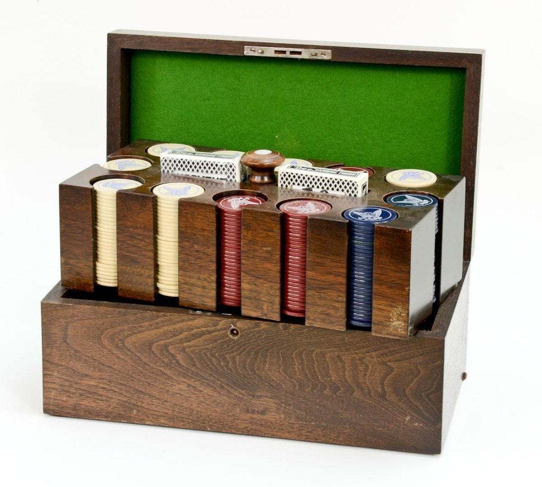 Vintage Poker Set in Wooden Box
