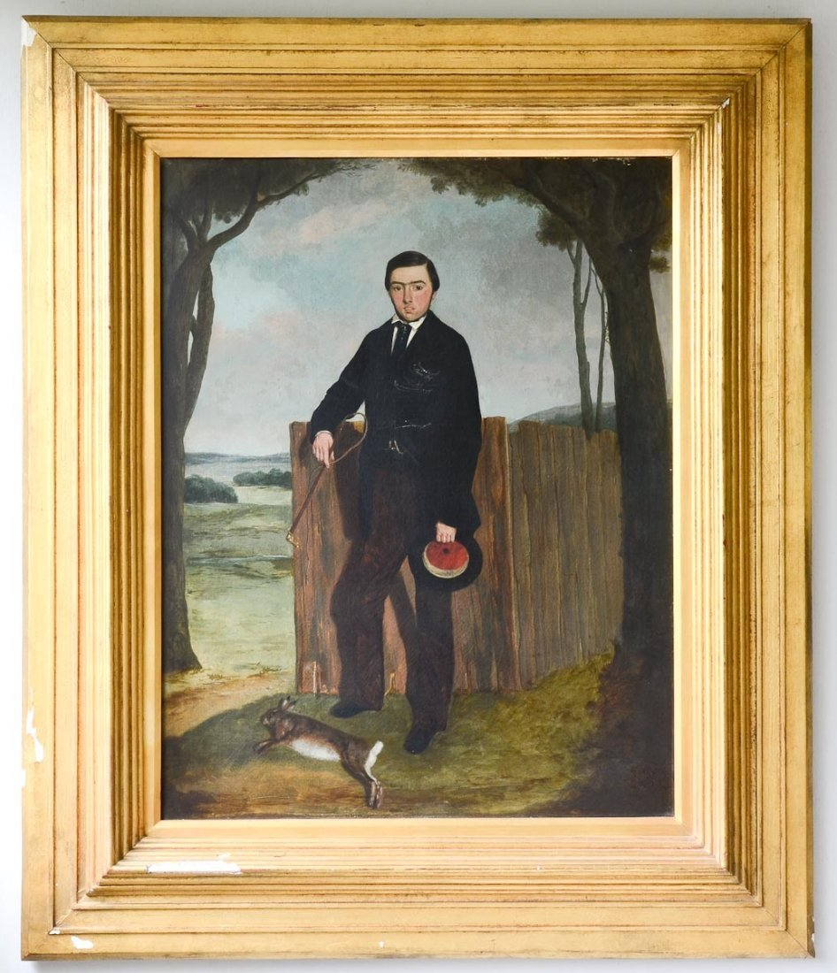 19th C Folk Art Oil Painting of Young Man