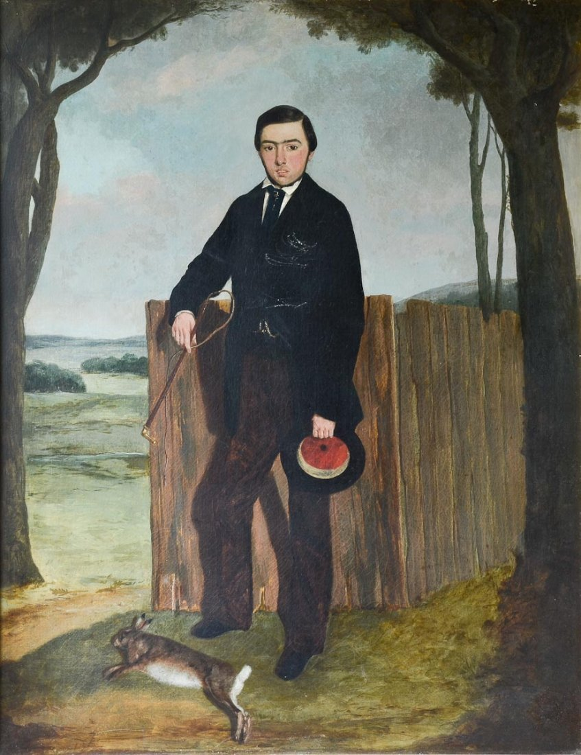 19th C Folk Art Oil Painting of Young Man - 2