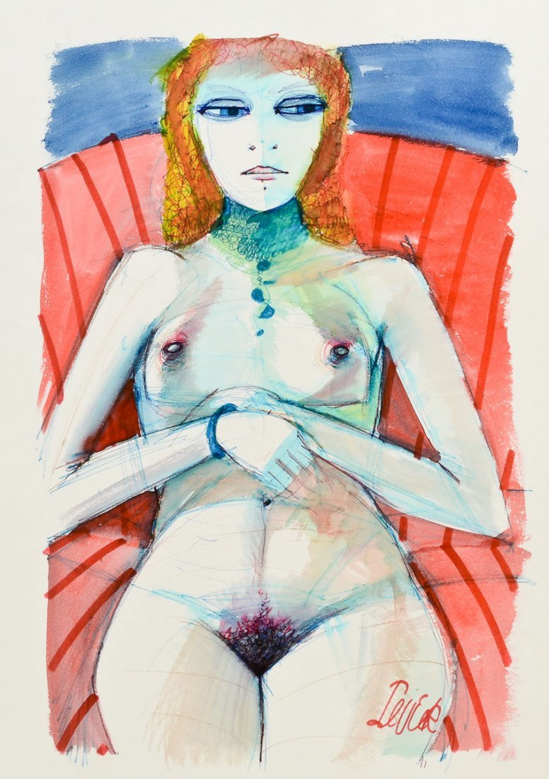 Charles Levier Nude Watercolor