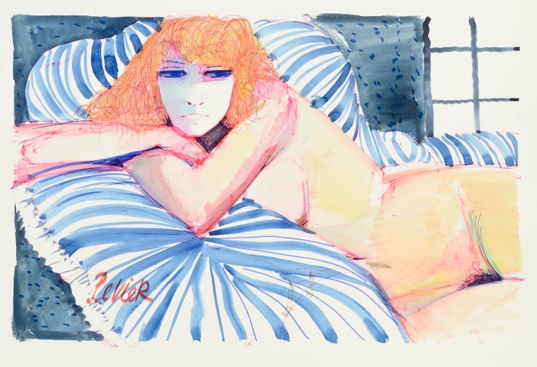 Charles Levier Reclining Nude Watercolor
