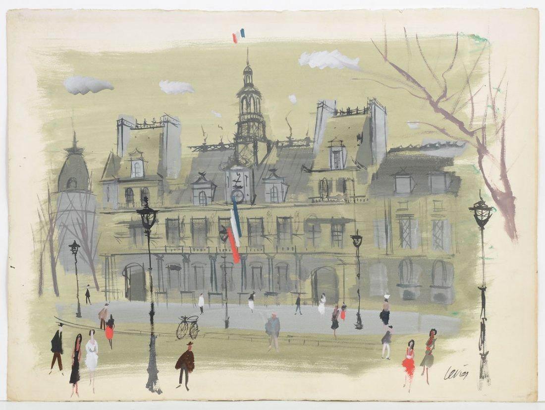 Charles Levier Hotel de Paris Watercolor & ink