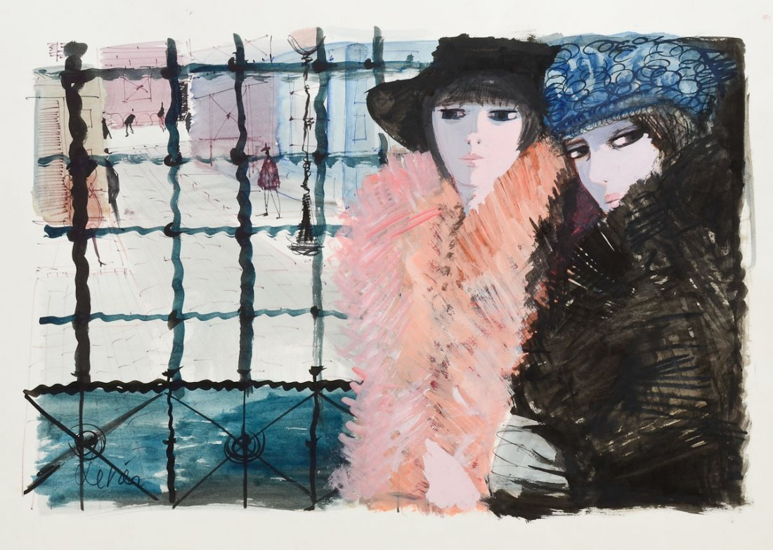Charles Levier Watercolor: 2 women