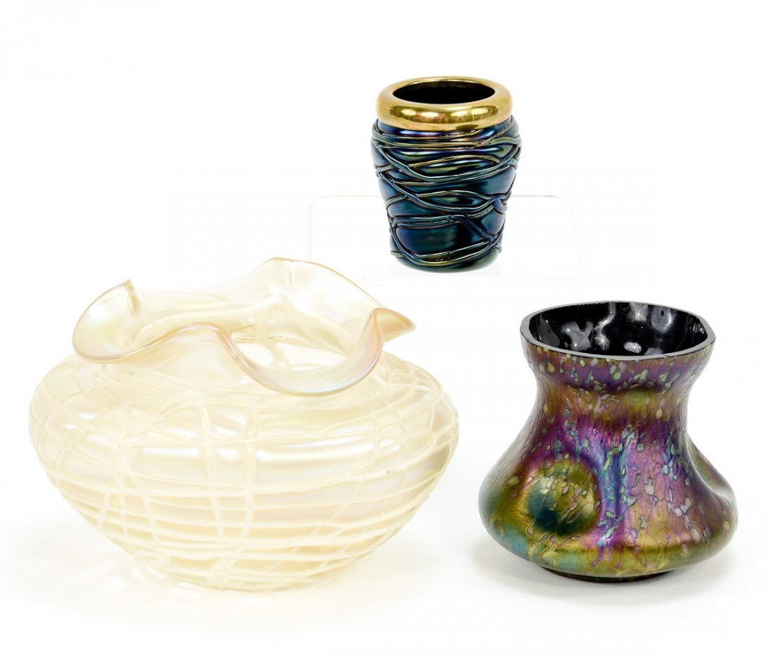 Three pieces of Austrian Art Glass