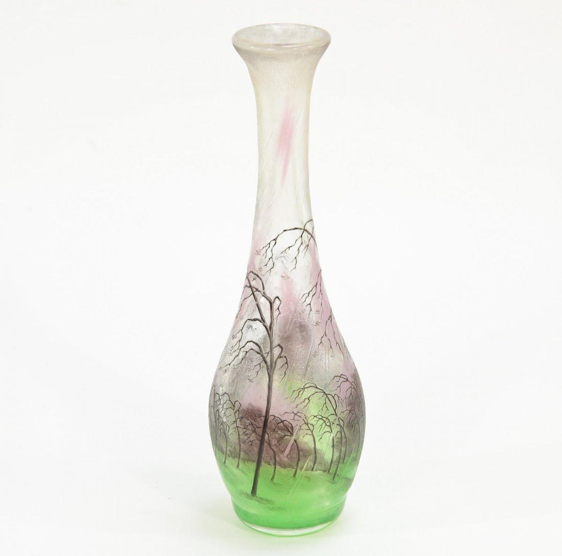 Daum Nancy Glass Landscape Vase