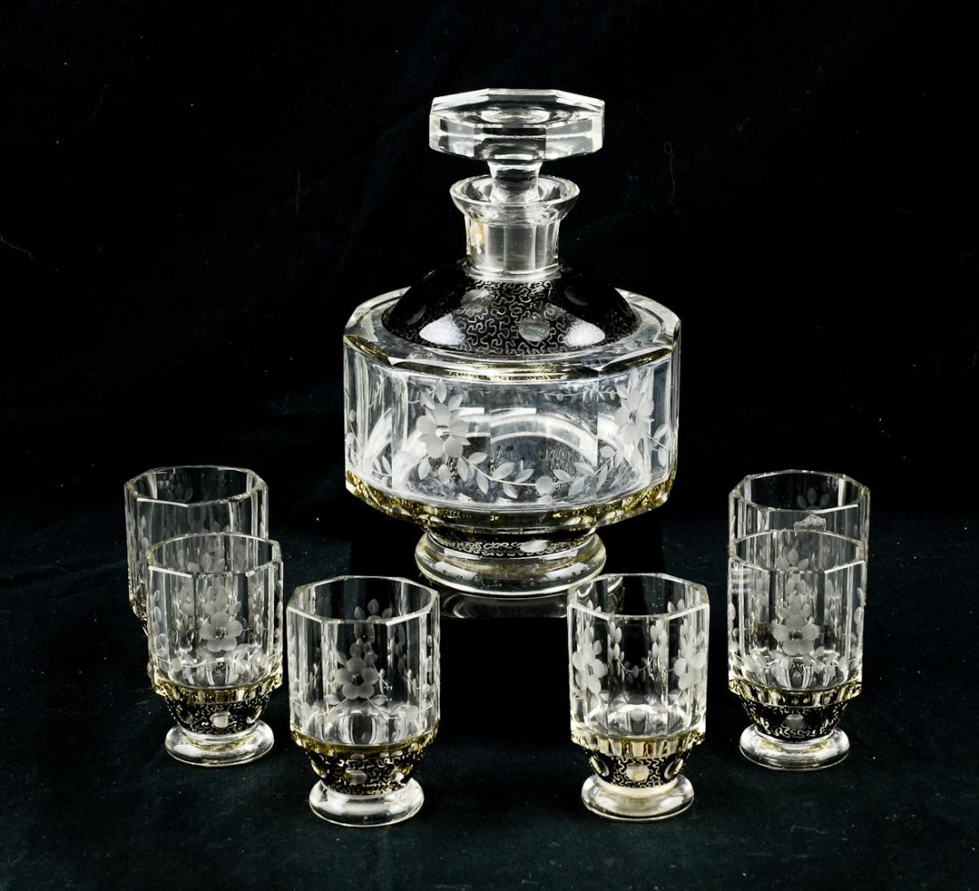 Bohemian Glass Cordial Set