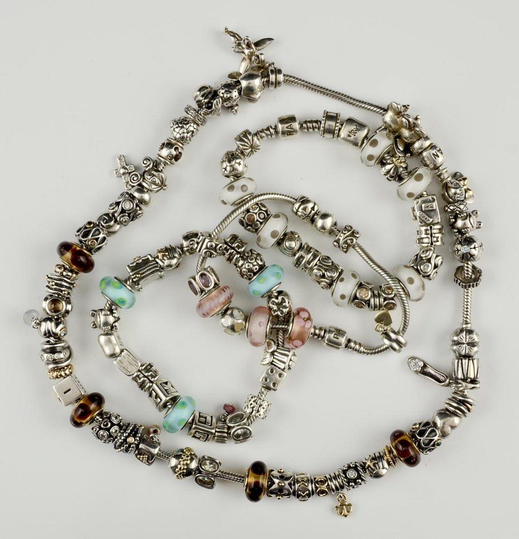 Pandora Charm Necklace and 3 Bracelets