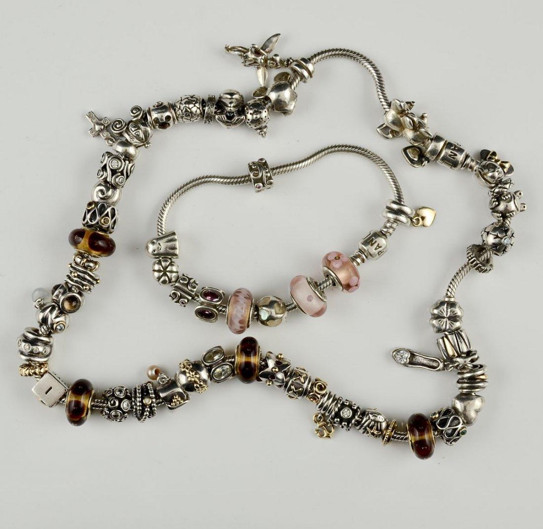 Pandora Charm Necklace and 3 Bracelets - 2
