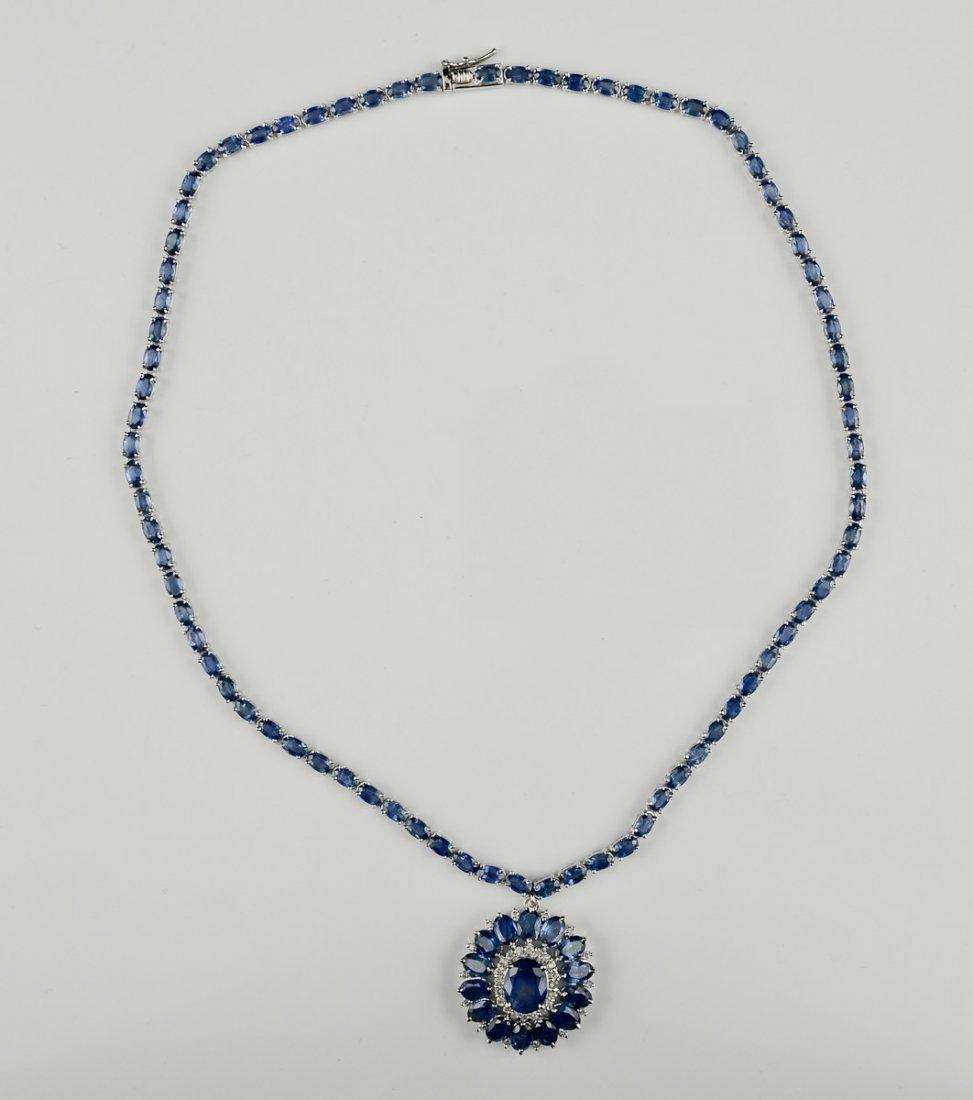 Ladies 14K Diamond & Sapphire Necklace
