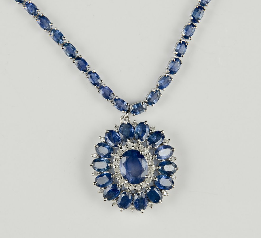 Ladies 14K Diamond & Sapphire Necklace - 2