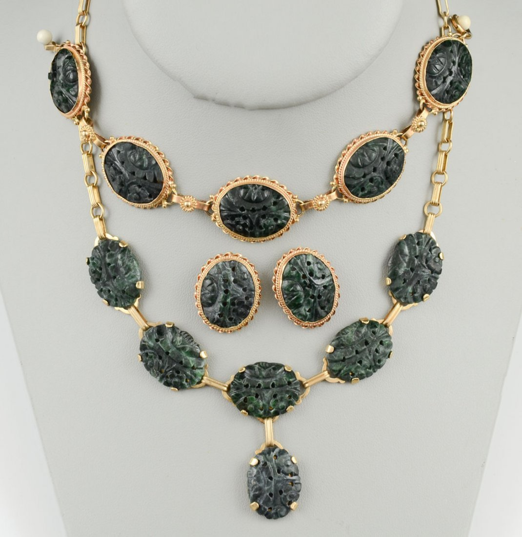 A Suite of Jade & Gold Jewelry