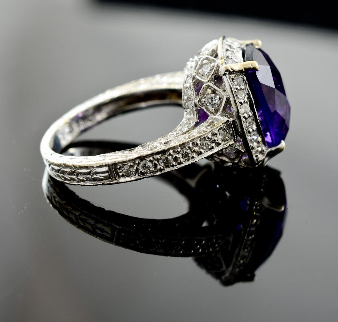 Ladies 18K Amethyst and Diamond Ring - 2