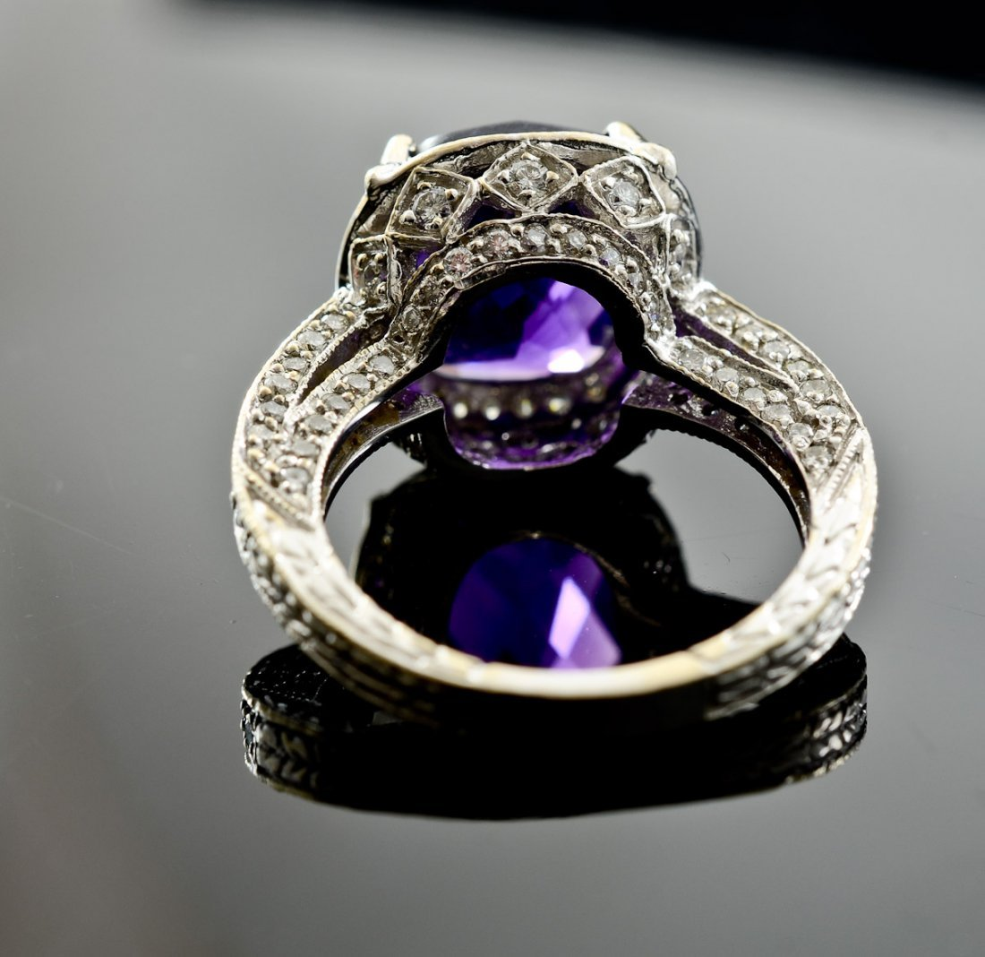 Ladies 18K Amethyst and Diamond Ring - 3