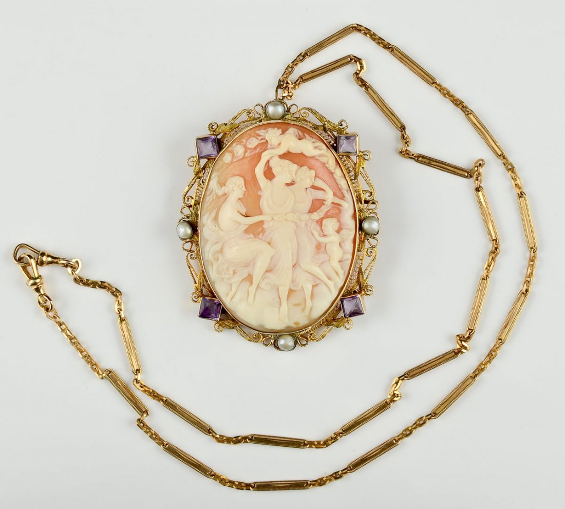Cameo Brooch and Gold Necklace