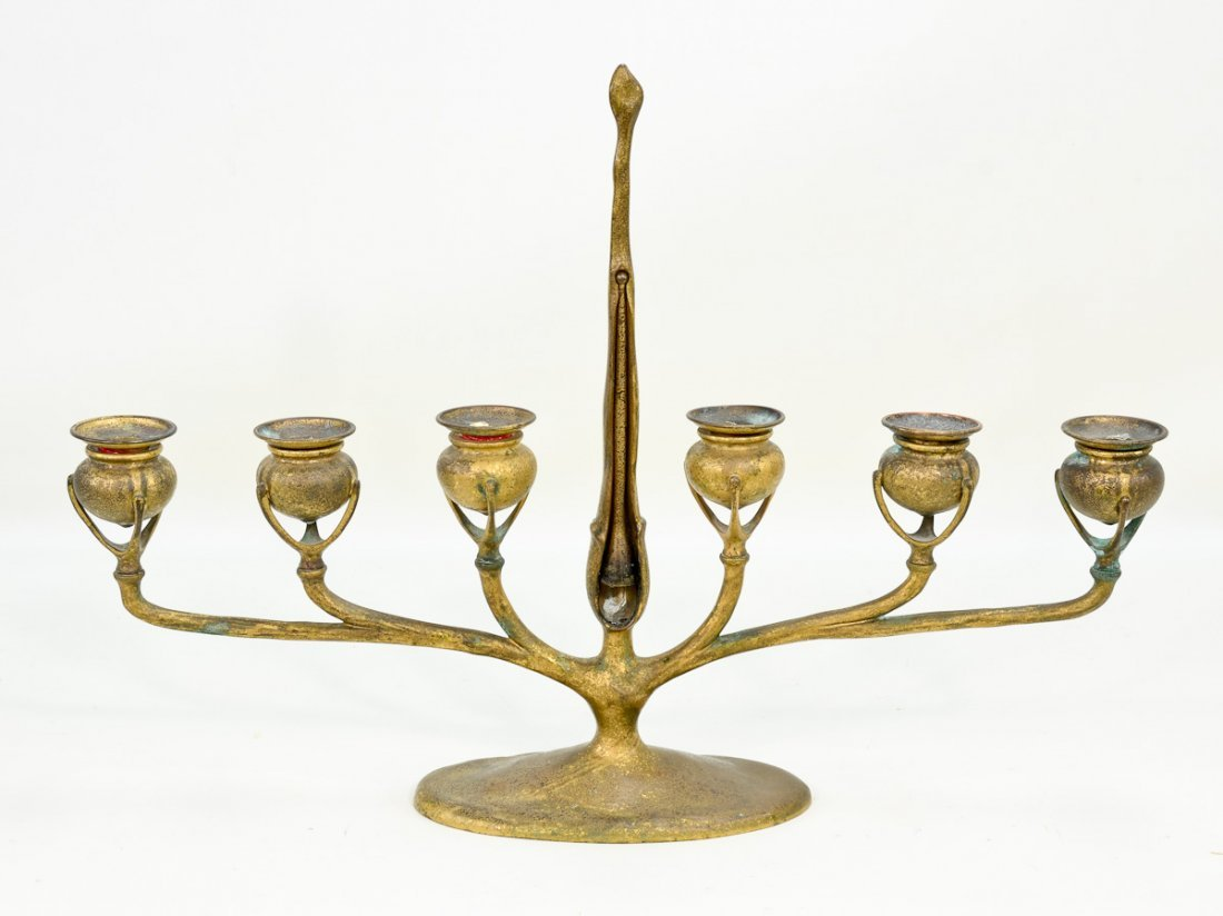 Tiffany Studios Art Nouveau Bronze Candelabrum