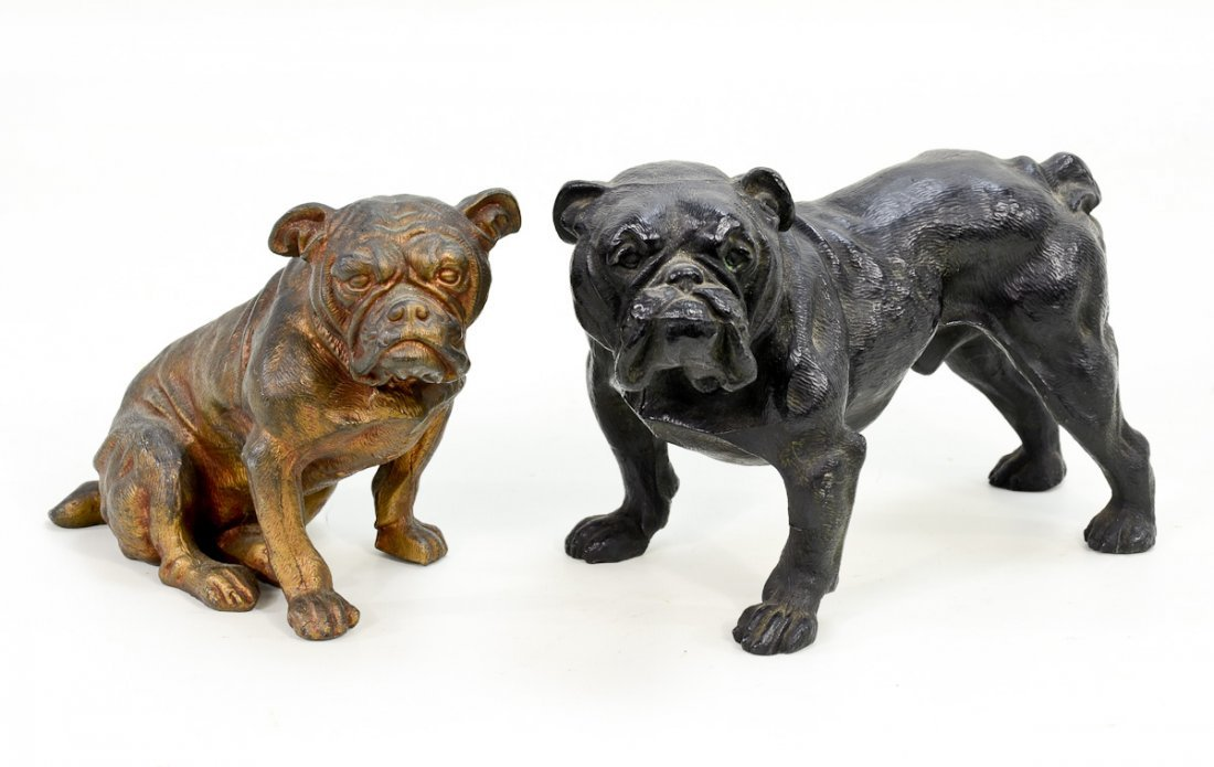 2 Cast Metal Bulldogs