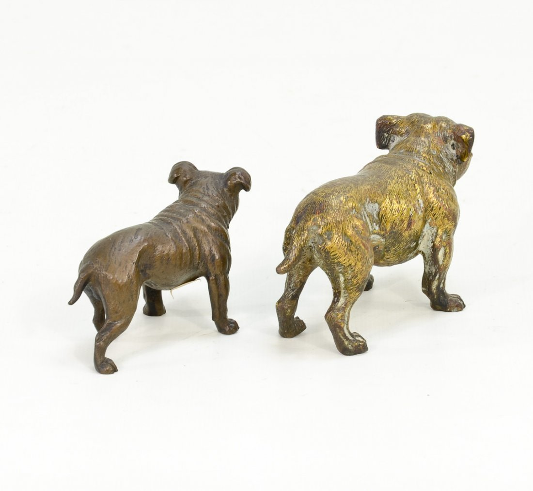 2 Miniature Bronze Bulldogs - 2