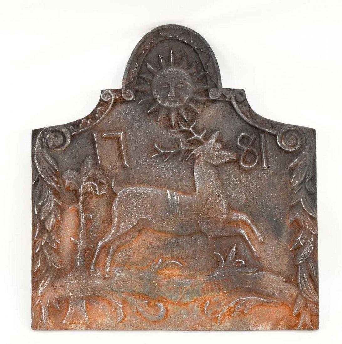 Cast Iron Fireback Dated 1781