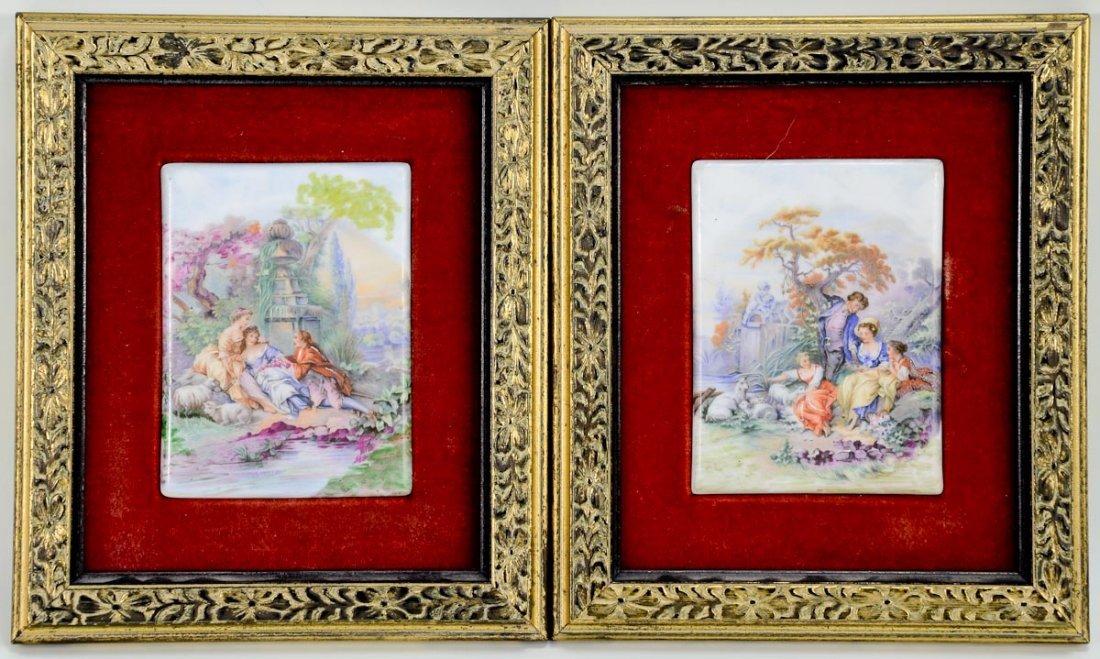 2 Framed Porcelain Plaques