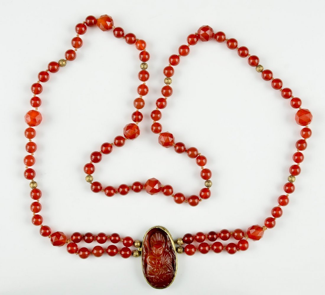 Chinese Carnelian & Gold Necklace