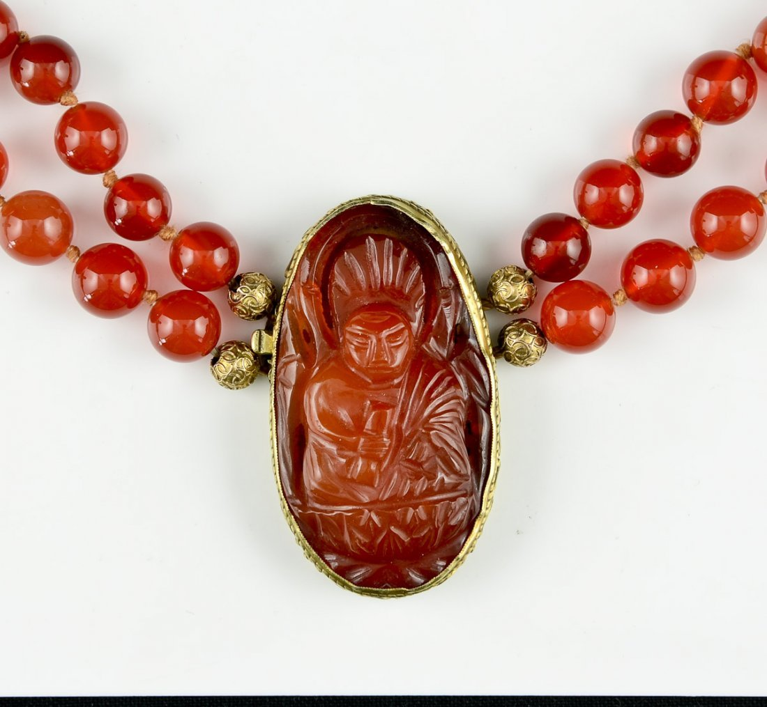 Chinese Carnelian & Gold Necklace - 2